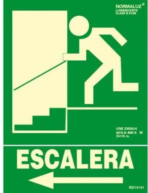 señal evacuacion bajada izquierda